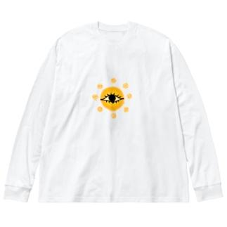 太陽 Big silhouette long sleeve T-shirts