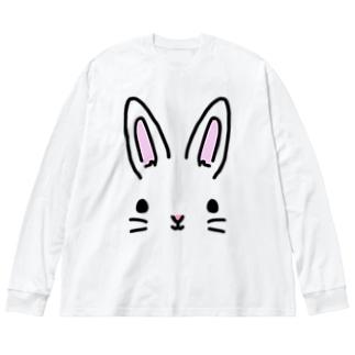 うさぎ Big silhouette long sleeve T-shirts