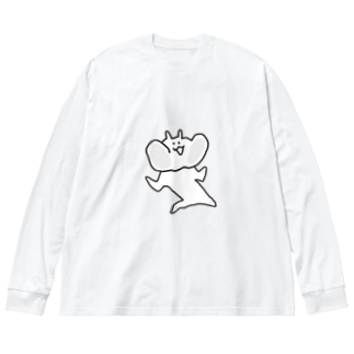 ひっつきうさぎ Big silhouette long sleeve T-shirts