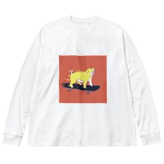 スケボードッグ🛹 Big silhouette long sleeve T-shirts