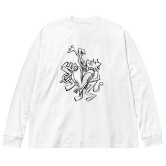 LOVE ロンT 猫 Big silhouette long sleeve T-shirts