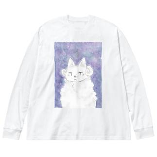 バケモノ Big silhouette long sleeve T-shirts