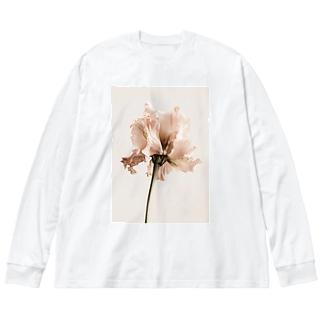 花と月 Big silhouette long sleeve T-shirts
