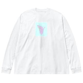 あすとろにゃーと Big silhouette long sleeve T-shirts