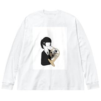 ホルン吹きちゃん Big silhouette long sleeve T-shirts