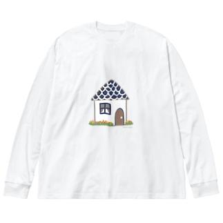 いえ Big silhouette long sleeve T-shirts