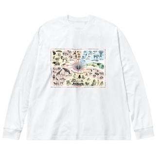 系統樹マンダラ【真獣類編】 Big silhouette long sleeve T-shirts