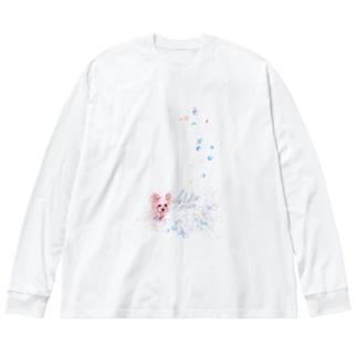 リアル風ヨーキーちゃん。ロングコートにキュートなリボン~縦長~ Big silhouette long sleeve T-shirts