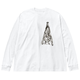オオコウモリ Big silhouette long sleeve T-shirts