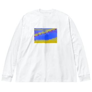 グリッチ Big silhouette long sleeve T-shirts