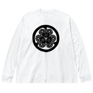 動物家紋。H.T.(三つ葉葵ハシビロコウ) Big silhouette long sleeve T-shirts