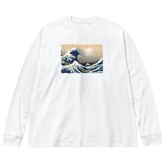 神奈川沖浪裏 THE GREAT WAVE Big silhouette long sleeve T-shirts
