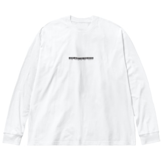 英題バーコード(黒) Big silhouette long sleeve T-shirts