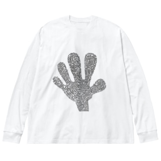 Big Hand Long T White Big silhouette long sleeve T-shirts