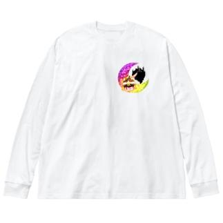 《ハロウィン》05*魔女っ子みけ* Big silhouette long sleeve T-shirts