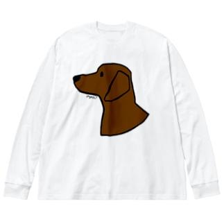 ダックスフンド Big silhouette long sleeve T-shirts