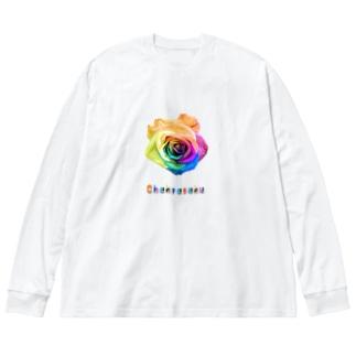 レインボーローズ開花 Big silhouette long sleeve T-shirts