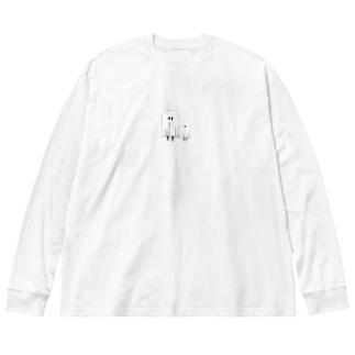 おばけくん Big silhouette long sleeve T-shirts
