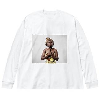 pray 祈りを込めて Big silhouette long sleeve T-shirts