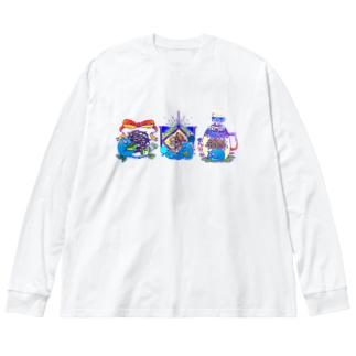あおねこの紅茶屋さん Big silhouette long sleeve T-shirts