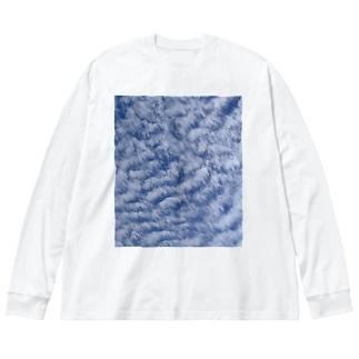 いわし雲photo Big silhouette long sleeve T-shirts