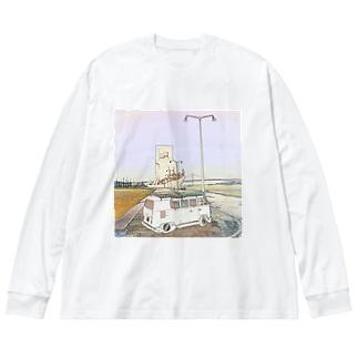 CG絵画:発見のモニュメント CG art: Padrão dos Descobrimentos / Lisboa Big silhouette long sleeve T-shirts
