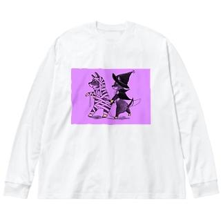 マミーマメヒコ&マジカルクロスケ(ダークハロウィンナイト Big silhouette long sleeve T-shirts