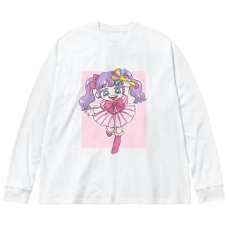 メルたん Big silhouette long sleeve T-shirts