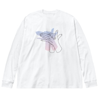 犬の手(otete) Big silhouette long sleeve T-shirts