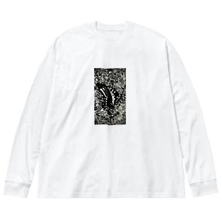 虫の知らせ Big silhouette long sleeve T-shirts
