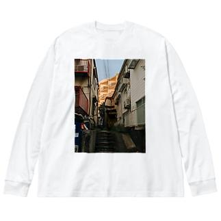 pale orange Big silhouette long sleeve T-shirts