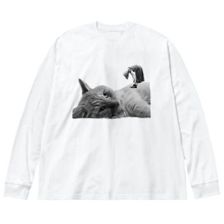 ほのけんグッズ2020!(白黒) Big silhouette long sleeve T-shirts
