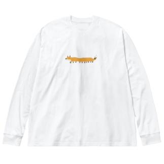 ながめのきつね Big silhouette long sleeve T-shirts