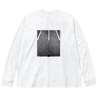 駅 Big silhouette long sleeve T-shirts