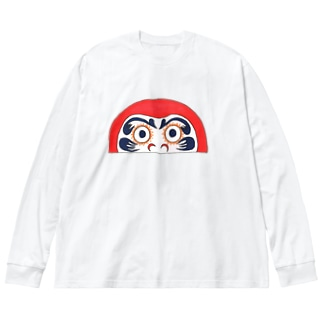 半分ダルマ Big silhouette long sleeve T-shirts