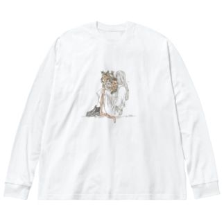 フラワーガール Big silhouette long sleeve T-shirts