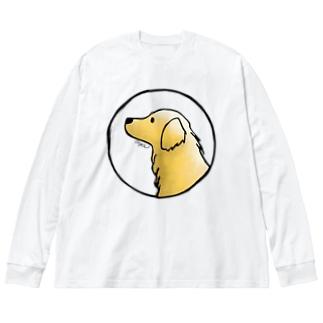 ゴールデン・レトリーバー〈水彩風・円〉 Big silhouette long sleeve T-shirts