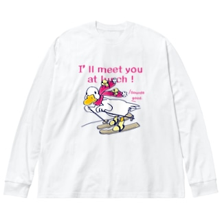 CT75あひるのおひるさんのスキーA Big silhouette long sleeve T-shirts