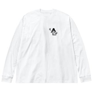 帽子を被った変な犬 Big silhouette long sleeve T-shirts