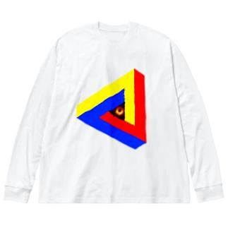 ブラックホールinペンローズの三角形-201025 Big silhouette long sleeve T-shirts