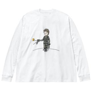 手がハサミの王子さま(星の王子さま) Big silhouette long sleeve T-shirts