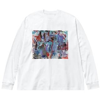 油絵プリントビッグシルエットTシャツ Big Silhouette Long Sleeve T-Shirt