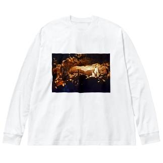 鍾乳洞 Big silhouette long sleeve T-shirts