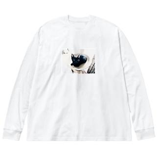 25才児のねこ Big silhouette long sleeve T-shirts