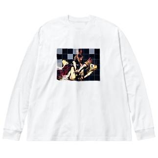 獣姦 Big silhouette long sleeve T-shirts
