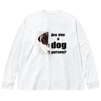 あなたは犬派? Big silhouette long sleeve T-shirts