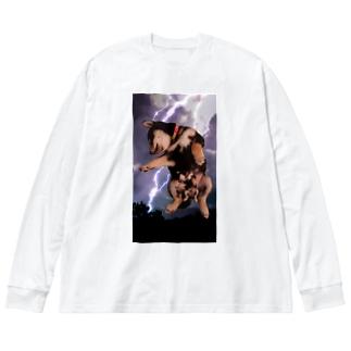 黒柴支部長 Big silhouette long sleeve T-shirts