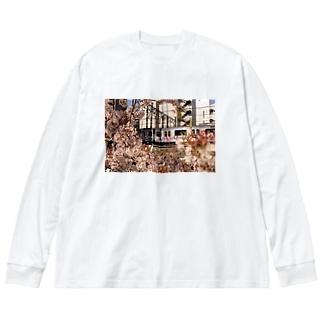 SAKURA Big silhouette long sleeve T-shirts