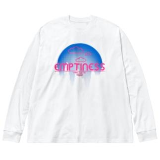 くものうえ (青ピンク) Big silhouette long sleeve T-shirts