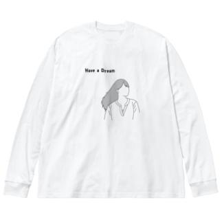 夢 Big silhouette long sleeve T-shirts